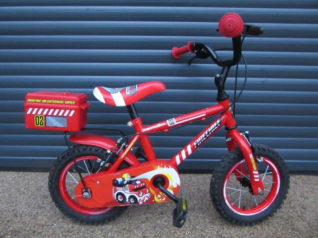 CHILDS FIRST BIKE APOLLO FIRE CHEIF IN LITTLE USED CONDITION. (MAKE IDEAL PRESENT). SUIT AGE 3 +