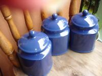 3 Large Blue Ceramic Storage Jars