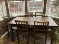 DINNING TABLE AND SIX CHAIRS