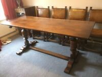 """Dark Oak Dining Table 28"""" x 72"""" with 4 chairs"""