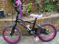 """Child's 16"""" wheel bike,Tink comes with stand and bar tassels"""