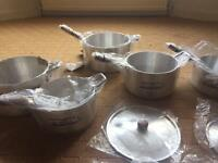 Milk pan set cooking pots with lids brand new