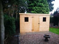 12x8FT PENT SLOPING ROOF HEAVY DUTY STORAGE GARDEN SHED T&G FULLY ASSEMBLED ERECTED