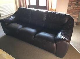 Large dark brown leather Violino 3 seater Sofa