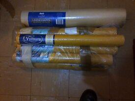Exclusive B&Q Vymura Wallpaper x 8 Rolls - 'Sarmin' Colour Gold/Ochre + 1 x Roll Wall Lining Paper