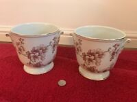 Decorative Jaffe Rose Porcelain Plant Pots (Pair)