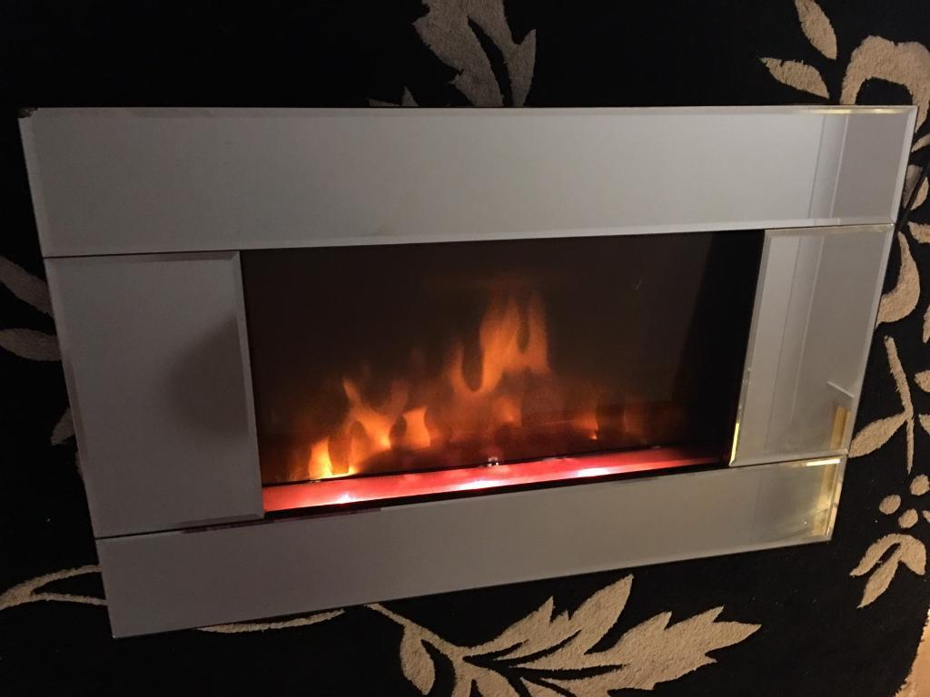 electric fire glass with mirror surround in aberdeen gumtree