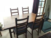 Ikea Wooden Dropped Leaf Extending Table and 6 Kaustby Chairs