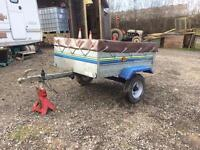 Small trelgo tipping car trailer with cover
