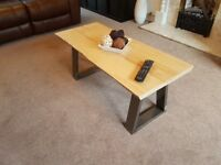 NEW Handmade Live Edge Coffee Table with Trapezoid Steel Legs