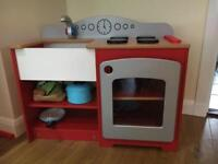 Solid wood toy kitchen, utensils & food