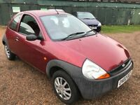 Ford KA 1299cc Petrol 5 speed Manual 3 door hatchback 02 Plate 28/06/2002 Red