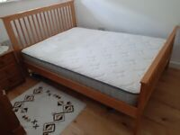 High End Oak Framed double bed with Good Quality mattress included