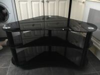 Black glass curved corner tv stand-excellent condition