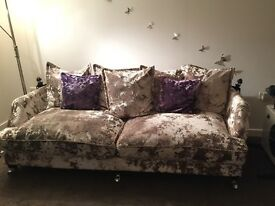 Crushed velvet sofa under 1 year old great condition