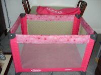 Graco travel cot pink