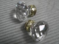 Pair Antique Chrystal Cut Glass DOOR KNOBS