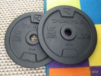 Two 5kg (total 10kg) cast iron weight discs - excellent condition - Like NEW
