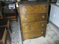 VINTAGE ORNATE CHEST OF 4 DRAWERS. ORNATE KNOBS. VIEWING / DELIVERY AVAILABLE