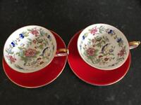 Aynsley 2 Pembroke Red Cup and Saucers, vintage