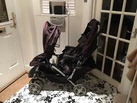 Graco double buggy / push chair - black