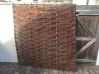 1x Willow Bunch Weave Hurdles Fencing Panel 1.82m x 1.82m (6ft x 6ft)