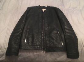 Black leather jacket in large