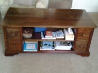 Coffee Table with 8 drawer & 2 shelves. Mahogany L123cms x H50cm xW63cms