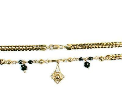 Genuine gold filled 5mm chain jet black Czech crystals 10inch Unique ankle brace
