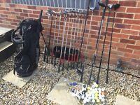 Titlist DCI full set irons, Ping golf bag, Taylormade and Wilson woods etc