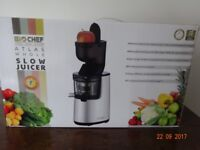 BioCHEF ATLAS whole slow juicer in silver with Powerful 250wMotor/40rpm.