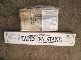 Wooden table top tapestry stand