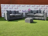 NEW 3 +2 GREY JUMBO CORD SOFA SET INC FREE FOOTSTOOL & FREE DELIVERY ALL FOR £329.99