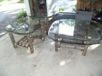 CEDAR TWIG TABLES COFFEE & TWO END TABLES