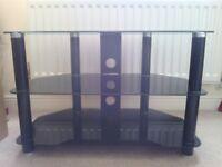 TV CORNER UNIT BLACK GLASS