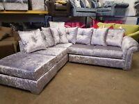 Crushed velvet glitz corner sofa
