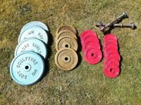 Dumbbell set and weight plates