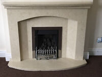 GAS FIRE & MARBLE SURROUND