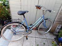 ladies vintage sky blue concept 21 inch frame single gear bike with lock