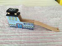 Brio bridge with helipad! Wooden train track tunnel. Traditional toys