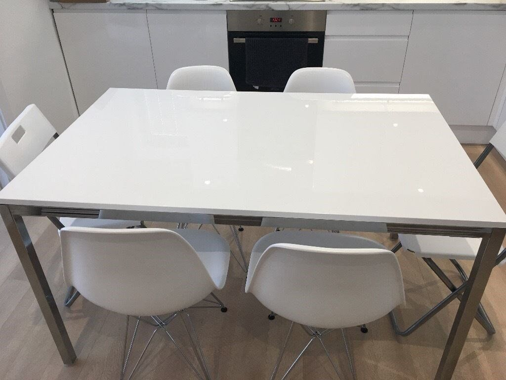 Practically New Ikea Torsby White Gl Chrome Dining Table
