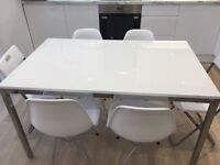 Ikea Torsby White Glass & Chrome Dining Table