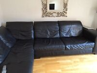 Black leather corner sofa excellent condition from dfs