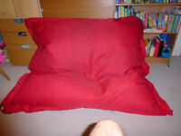 "Giant square red Dunelm bean bag. About 54"" x 61"" Great crash mat for kids or double seat."