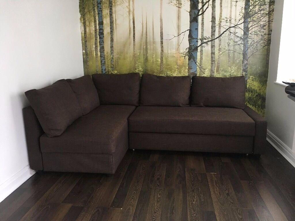 Ikea Friheten Corner Sofa Bed With Storage In Brown