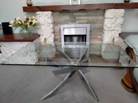 Beautiful Glass Coffee Table With Chrome Stand