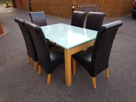 White Glass Extending Table & 6 Montana Leather Chairs FREE DELIVERY 054