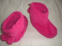 Girl's Next pink furry slippers