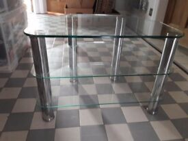 3 tier glass and chrome TV unit for up to 37inch