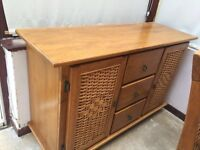 Wooden table and chairs with sideboard
